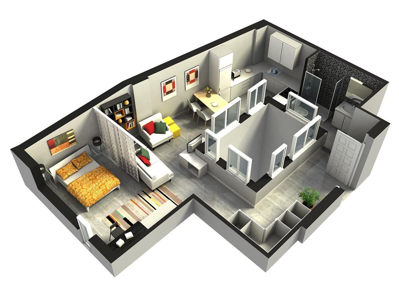 Apartamentos de 1 habitación en el centro de Oviedo
